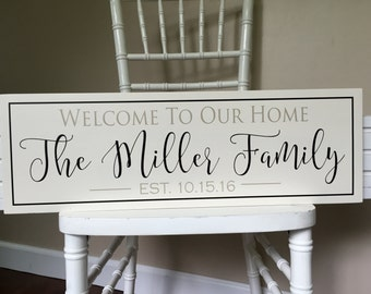 Personalized Welcome Sign, Welcome to our home sign, Family Name Plaque, Wooden Signs, Last Name Establish, House Warming Gift, Hanging Sign