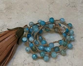 Blue Quartz Crochet Necklace With Tassel Pendant - Bohemian Style