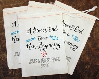 Candy Wedding Favor Bags - A Sweet End to a New Beginning / Customized Candy Bags / Rustic Wedding / Sweet Treat Wedding Gift / Goody Bag
