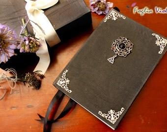 Book of Shadows Black Grimoire Spell book pagan wedding elegant vampire goth twilight mirror journal book spells notebook esoteric