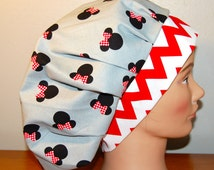 Surgical Bouffant Scrub Cap Chemo Cap Disney Minnie Mouse, Chevron & Dots Red Black White Gray Adjustable Velcro Closure, One Size Fits Most