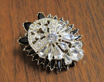 Black and Clear Rhinestone Pendant from Jewels by Park Lane