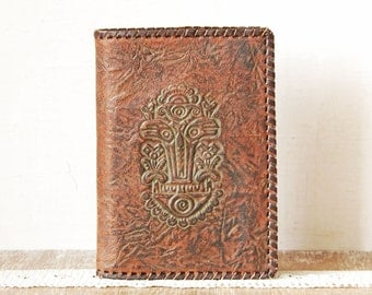 Vintage Tooled Leather Book Cover, Handmade Paper Case, Brown Leather Paper Folder, Leather Bookmark