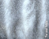Faux Fur Fabric Gray and Cream Long Hair Shaggy Huskie Stripe Baby Photography Prop, Craft, Sewing, Supplies
