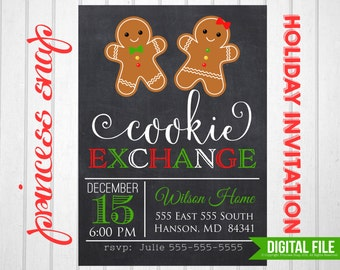 Cookie Exchange Party Invitation Printable, Christmas Invitation,  5x7 or 4x6, Holiday Cookie Party Invitation, DIY Holiday Invitation