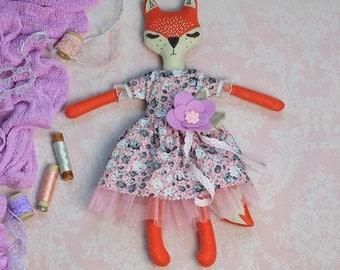 Felt fox Plush fox handmade doll Cloth dolls Art doll primitive fox woodland plush Heirloom doll collectible OOAK doll Stuffed fox