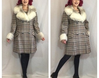 Vintage 1970's Plaid Coat with Faux Fur Collar and Cuffs