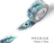 15mmX7M peacock feathers Washi Tape Diary Masking Tape