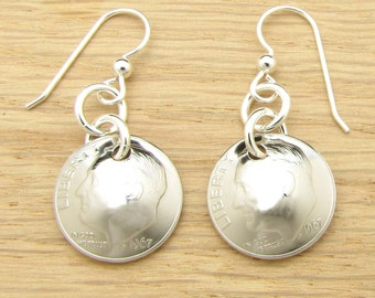 For 50th: 1967 US Dime Earrings 50th Birthday or 50th Anniversary Gift Coin Jewelry
