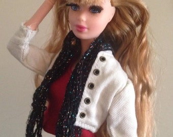 Sparkly Black Monster High Fashion Royalty Doll Clothes Handmade scarf Crochet OOAK Custom