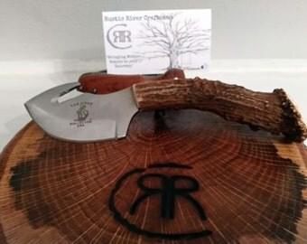 Rustic Deer Antler Guthook Knife INCLUDES SHEATH