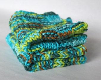 Knit Dishcloth, Blue Green Cotton Washcloths, Set of 2