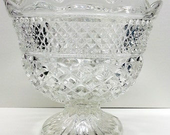 """Anchor Hocking Glass Wexford Centerpiece Bowl, Footed Serving Compote 7"""" T"""