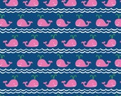 "Whale Fabric -  Pink Whales on Navy Blue - ""Rowing"" -True Blue Collection by Ana Davis for Blend Fabrics. Nautical 100% cotton. 113.105.03.1"