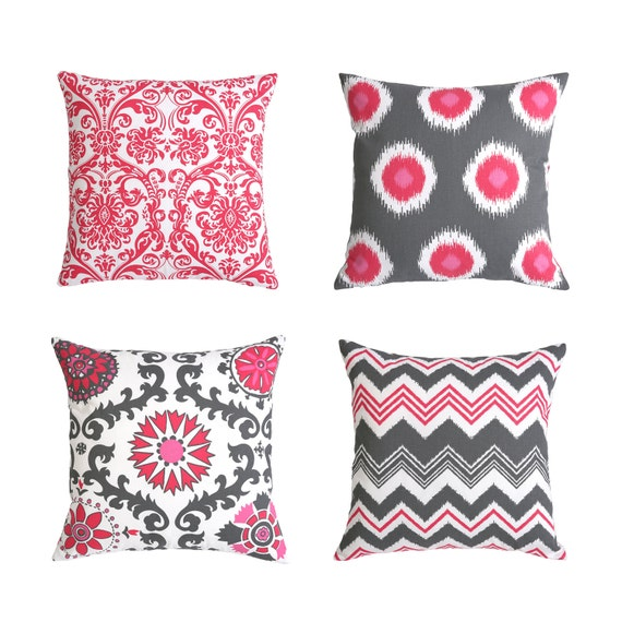Decorative Pillow Covers With Zippers : One Decorative Throw Zipper Pillow Cover in Pink and by Pillomatic