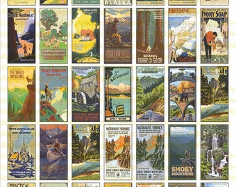 Vintage Camping & Outdoor Posters-  1X2 Domino Sized print out digital sheet.