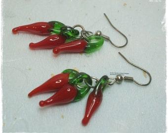 Chilli earrings, Red chilli earrings, chilli pepper earrings, Lampwork Glass Chilli earrings