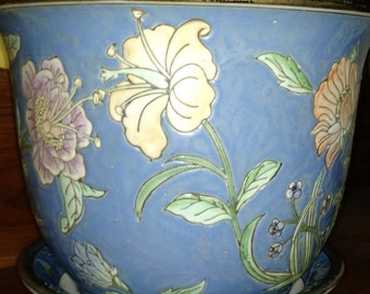 Porcelain Oriental Pottery Planter,  Oriental Blue Flower Pottery Planter,Oriental Home Decor Pottery