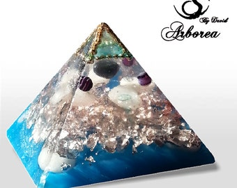 Atlantis Blue Orgonite pyramid orgone, orgonit Hematite,