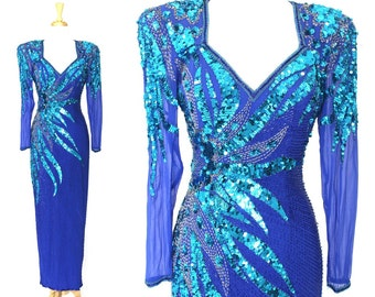 Sequin Dress Blue Long Vintage Alyce Designs