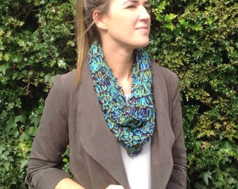 Knitted infinity  scarf, circle cowl, loop scarf, Easter gift, ladies scarf, multicoloured scarf,teenage, I infinity scarf