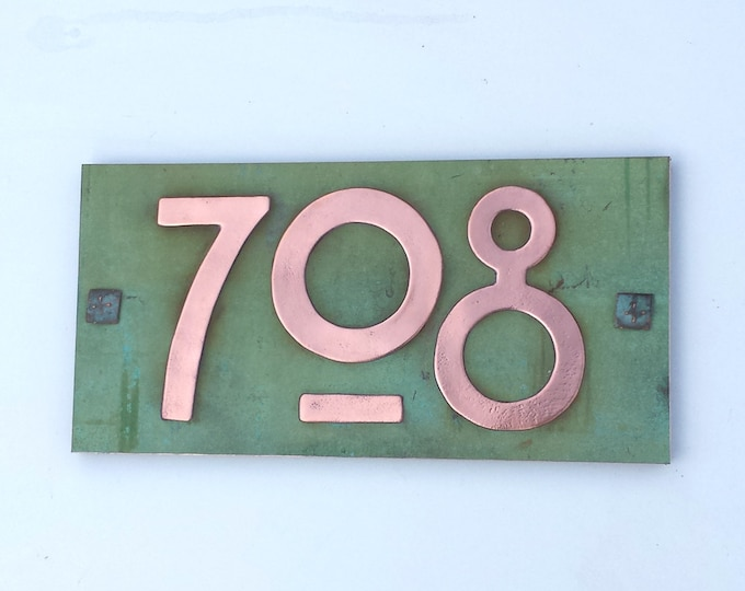 "Arts and Crafts plaque in upcycled copper 3""/75mm, 4""/100mm high with plywood back, 3 x nos. maintenance free g"