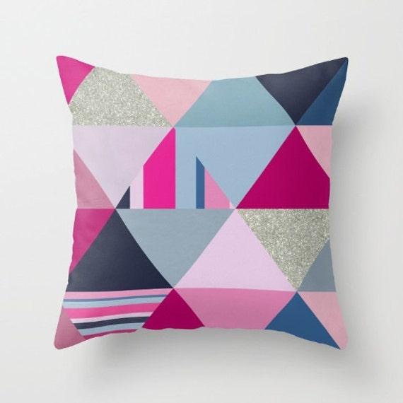 Pink Blue and Silver Triangles Decorative Pillows Couch