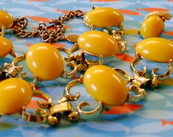 Vintage Necklace Bracelet Earrings Yellow Gold Tone Enamel Filigree Coro Lisner Style