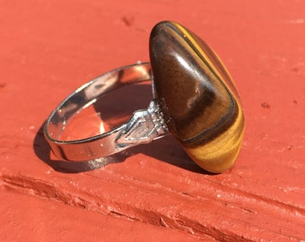 Tiger eye silver plated adjustable ring