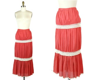 1970s Coral India Skirt / Peach Festival Skirt / Tiered Maxi Skirt with Crochet Trim
