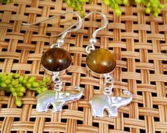 Tigers Eye & Sterling Silver Elephant Earrings, Silver Dangle Earrings, Tigers Eye Earrings, Silver Earrings, Elephant Earrings, Capricorn