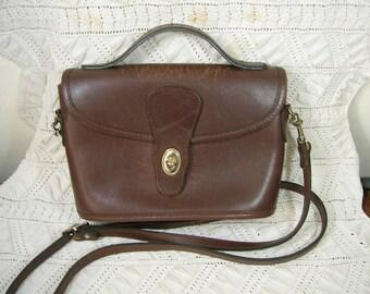 Michael Green Handbag, Purse. Dark Brown Leather, Top Handle & Crossbody Strap