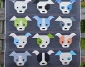 Quilt for sale, dog, puppy, baby, toddler, child, bright modern patchwork, grey, blue, green, orange