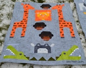 Baby Quilt for sale, baby boy, nursery, baby shower gift, Jungle, Lion, Giraffe, Monkey, Crocodile, Hippo, grey, green, orange.