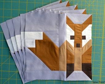 Fox #2 Quilt Block Pattern, PDF, Instant Download, modern patchwork, fox, animal, cute, forest, woodland