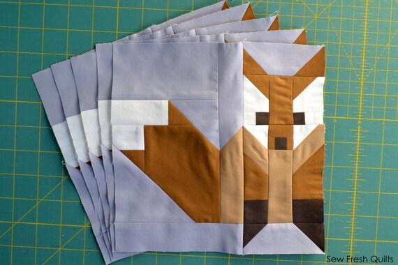 Fox 2 Quilt Block Pattern Pdf Instant Download Modern