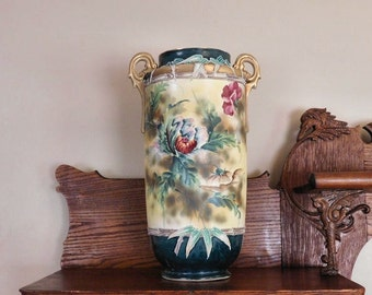 Nippon MONUMENTAL Nippon Moriage Floor Vase Porcelain Hand Painted Floral Antique Double Handle Vase Umbrella Stand Art Nouveau Decor