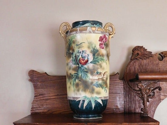 MONUMENTAL Nippon Moriage Floor Vase /  Double Handle Umbrella Stand