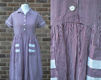 1960s Red White Stripe Shirt Waist Dress Small