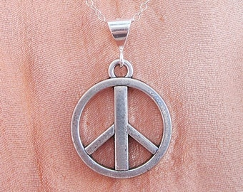 Large Peace Sign Silver-Plated Pendant Charm and Necklace