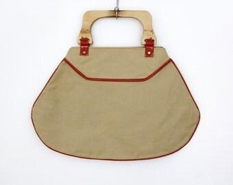 Vintage tote // khaki canvas handbag with wooden handle