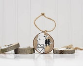 5th Anniversary Gift Love Bird Ornament Custom Wood Slice Ornament Love Gift  Hand Painted Tree Slice Rustic Small Wedding Gift for Couple