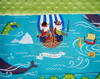 Nap Mat Cover / Toddler Cot Cover with Padded Minky Dot Headrest - Vikings