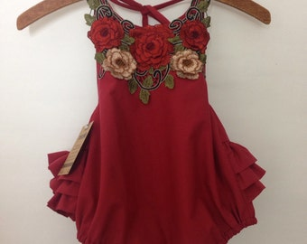 4T ruffle bum Vintage-inspired, lace-collared romper -Ready to ship