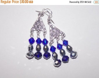 25%OFF Cobalt and Silver Chandelier Earrings