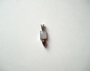 vintage sterling silver pendant, moonstone pendant, garnet pendant, moonstone and garnet, multi gemstone, semi precious stone
