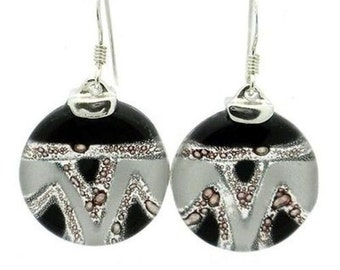 Aztec Black and White Round Glass Sterling Silver Earrings FREE USA SHIPPING