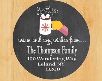 Holiday Address Labels | Winter Return address label | Stickers | Holiday Labels | Hot Cocoa | Hot Chocolate