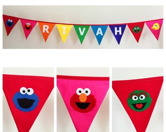 Personalised Sesame Street Rainbow Fabric Bunting Banner