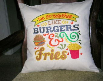 Pillow Cover- We Go Together Like Burgers and Fries Pillow Cover- Cotton Pillow Cover- Kitchen Pillow Cover-Valentine Pillow Cover